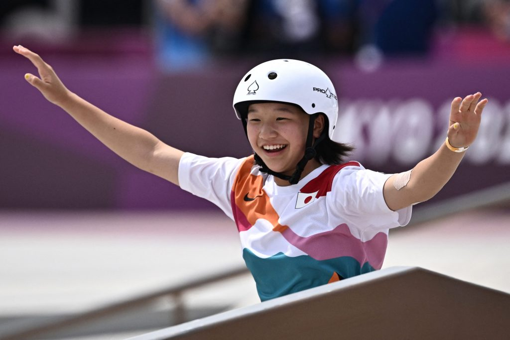 Skateboarder Nishiya Momiji, 13, became one of the youngest gold medalists of all time