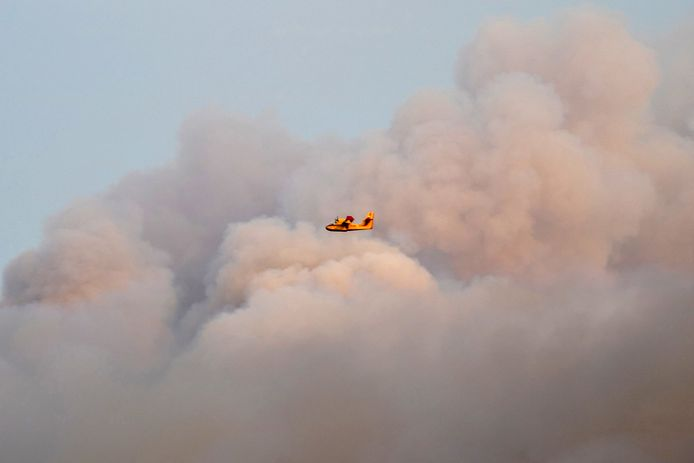 A firefighting plane extinguishes a forest fire near Kalamonas.