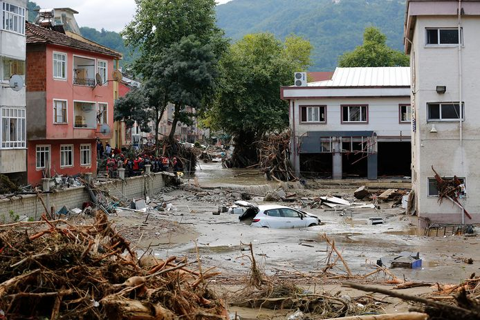 Cars are transported by water in Kastamonu, Turkey.