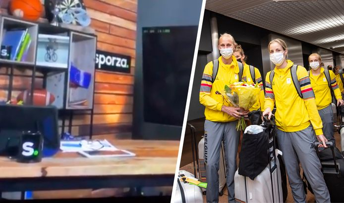 On the left the fragment of Sporza's livestream, on the right the Belgian Cats in Zaventem.