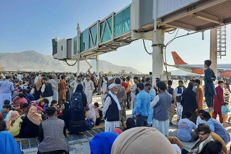 While the streets of Kabul are quiet, chaos reigns at the airport