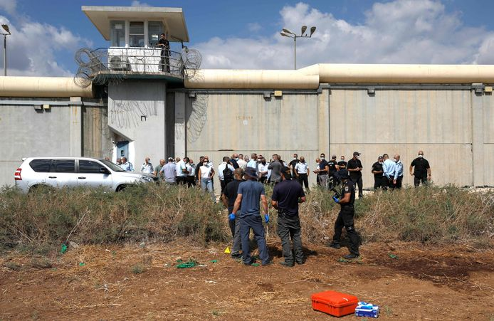 Israeli security personnel are looking for traces of the six as they exit the tunnel.