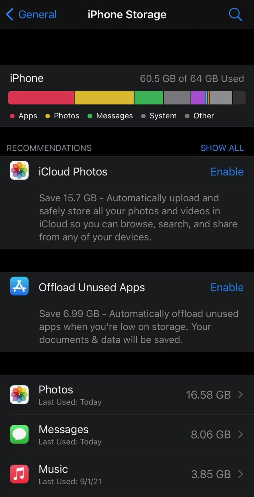 IPhone storage menu - basically your home base for iPhone decluttering