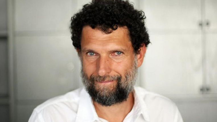 Osman Kavala is accused of attempting to overthrow Erdogan's government.  Statue