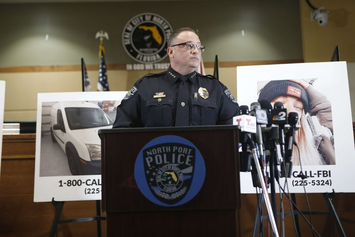 Police Chief Todd Garrison at a press conference on the disappearance case in North Port, Florida.